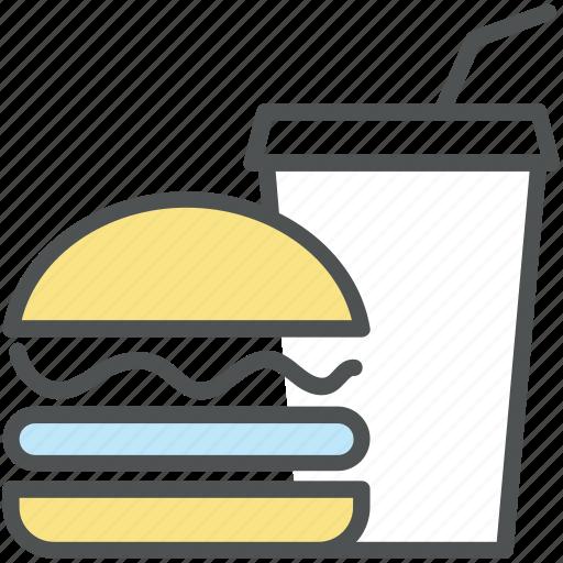 burger, drink, fast food, hamburger, junk food, soft drink icon