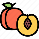 food, fruit, grocery store, meat, peach, vegetable icon