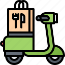 bag, delivery, eat, food, motorbike, motorcycle, restaurant icon