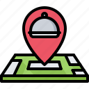 delivery, eat, food, location, map, pin, restaurant icon