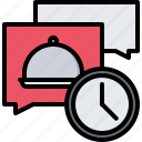 clock, delivery, eat, food, message, restaurant, time
