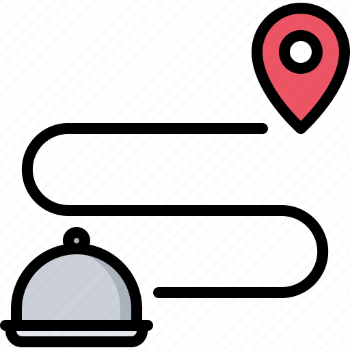 cloche, delivery, eat, food, location, pin, restaurant icon
