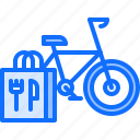 bag, bicycle, delivery, eat, food, restaurant icon