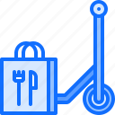 bag, delivery, eat, food, restaurant, scooter icon
