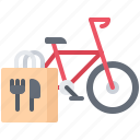 bag, bicycle, delivery, eat, food, restaurant