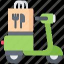bag, delivery, eat, food, motorbike, motorcycle, restaurant