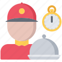 cloche, courier, delivery, eat, food, restaurant, time icon