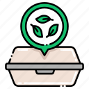 biodegradable, container, food icon