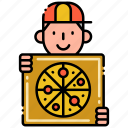 delivery, food, man, pizza icon