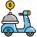 delivery, food, paid icon