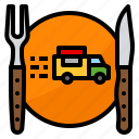 cutlery, delivery, food, plate, truck