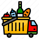 cart, delivery, food, shopping, truck