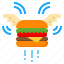delivery, fast, flying, food, hamburger