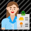 avatar, menu, order, waitress, woman