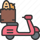 scooter, grocery, delivery, diet, takeout, takeaway