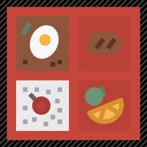bento, fish, japanese, lunch, rice icon