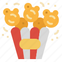 cinema, corn, movie, popcorn, snack icon