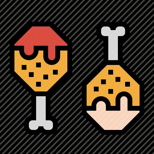 chicken, drumstick, fried, leg, sauce icon