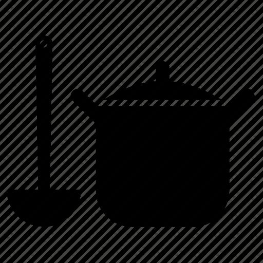 casserole, food, ladle, saucepan, utensil icon