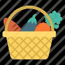 basket, carrot, eggplant, vegetable