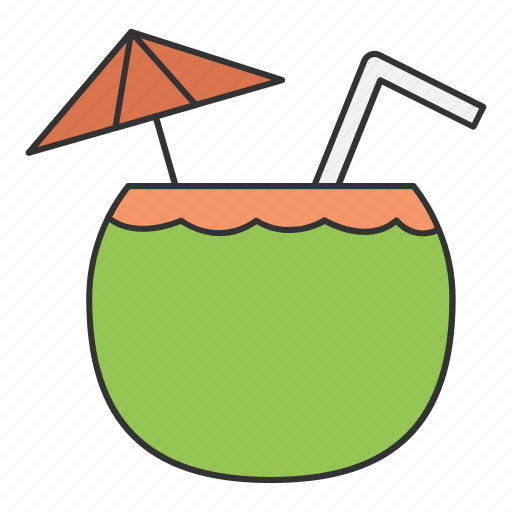 coconut, drink, drinking, food, water icon