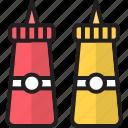 bottles, ketchup, mayonnaise, mustard, tomato, tomato ketchup, tomato sauce