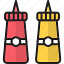 bottles, ketchup, mayonnaise, mustard, tomato, tomato ketchup, tomato sauce icon
