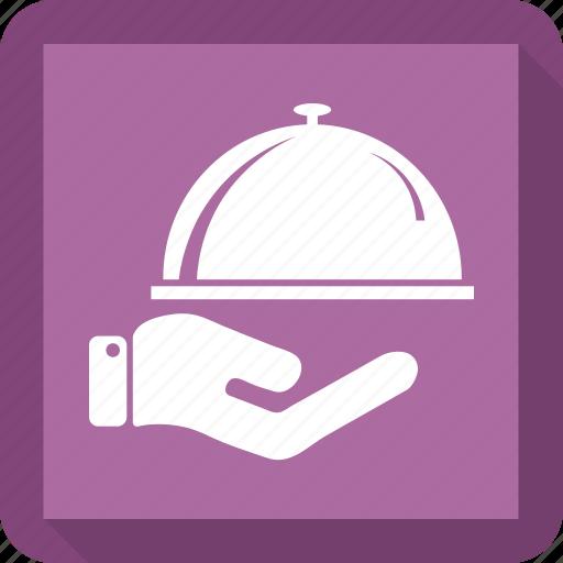 food, hand, service, tray icon