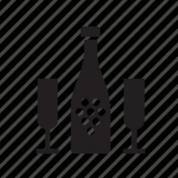 beverage, bottle, champagne, drink, drinking, glass icon