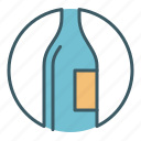 alcohol, bottle, circle, drink icon