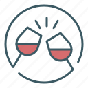 alcohol, celebration, cheers, circle, drink, glass, wine icon