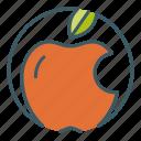 apple, circle, eat, eaten, fruit, healthy food