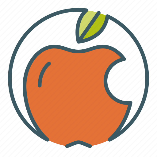 apple, circle, eat, eaten, fruit, healthy food icon
