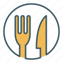circle, cutlery, eat, food, fork, knife, restaurant icon