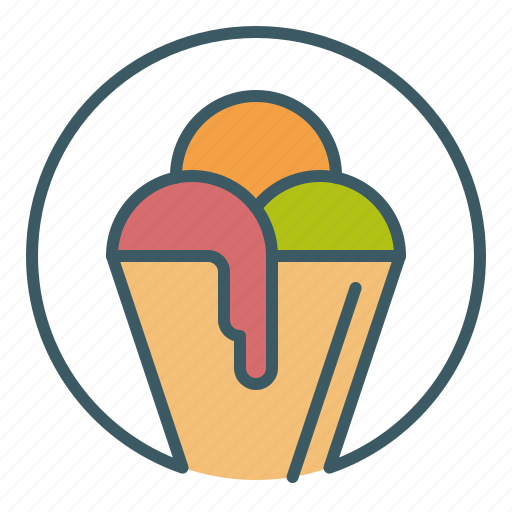 circle, cone, dessert, ice cream, sweet icon