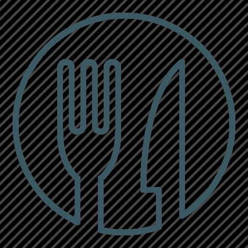 cutlery, eat, food, fork, knife, restaurant icon