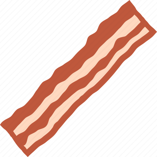 bacon, breakfast, cured, meat, pork, product, strip icon