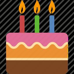 anniversary, birthday, cake, candles, celebration, dessert, party icon