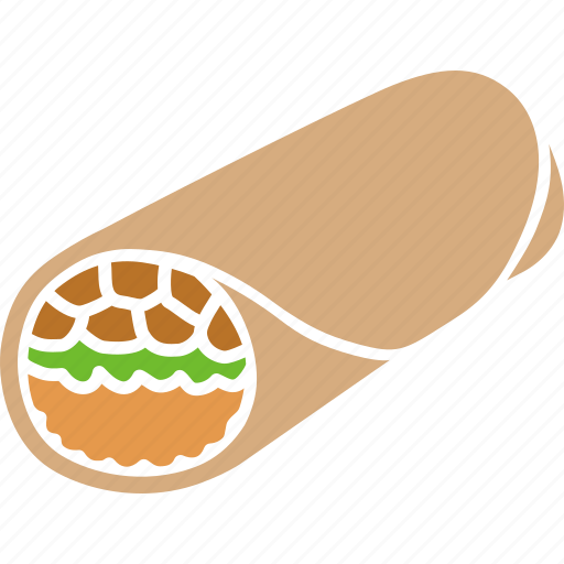 burrito, fast, food, lunch, meat, mexican, wrap icon
