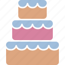 cake, dessert, reception, stacked, sweet, traditional, wedding icon