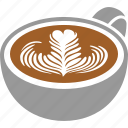 art, cafe, coffee, cup, espresso, latte, rosette icon