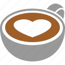 cafe, caffe, coffee, cup, espresso, heart, latte icon