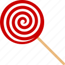 candy, lollipop, lolly, pop, red, sticky, swirl icon