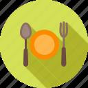 cutlery, eat, food, fork, meal, plate, spoon