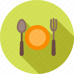 cutlery, eat, food, fork, meal, plate, spoon icon