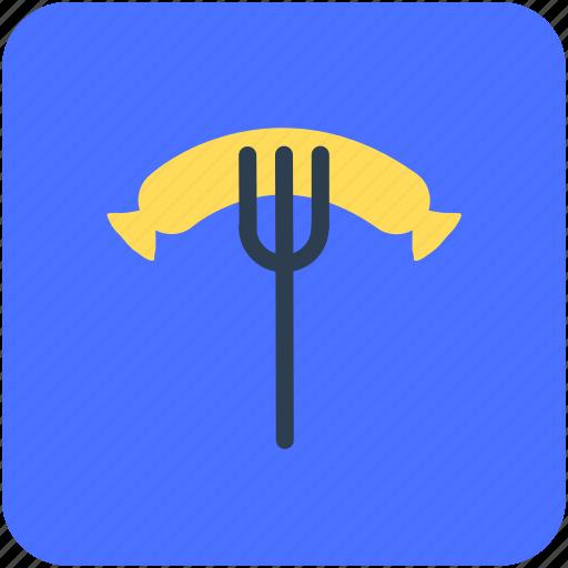 barbecue fork, barbecue sausage, bbq, hotdog, sausage icon