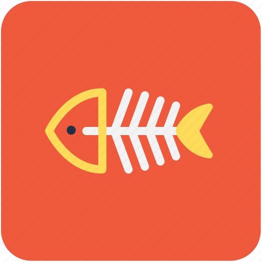 fish, fish skeleton, food, healthy food, seafood icon