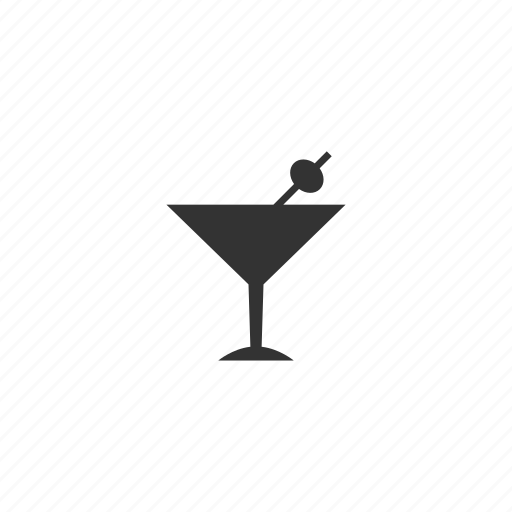 alcohol, beverage, cold, drink, glass, martini, olive, pick, tea, toothpick icon