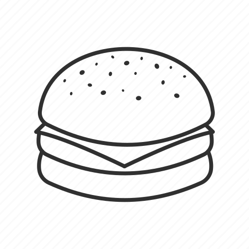 bread, burger, burger patty, cheese, food, sesame seeds, snacks icon