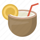 coconut, drink, hawaii, island, relaxation, tiki, vacation icon